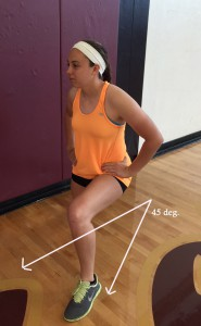 Maintain same upright form of basic lunge. Step out at a 45 degree angle for each leg.