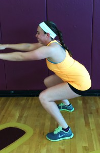 Squat until your knees reach a 90 degree angle. Bend at your hips and knees, not your ankles. Like you would sit on a box.